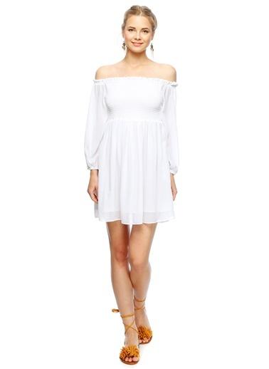 Kayık Yaka Volanlı Elbise-Glamorous